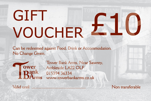 Gift vouchers are available at Tower Bank Arms, Near Sawrey, Lake District.